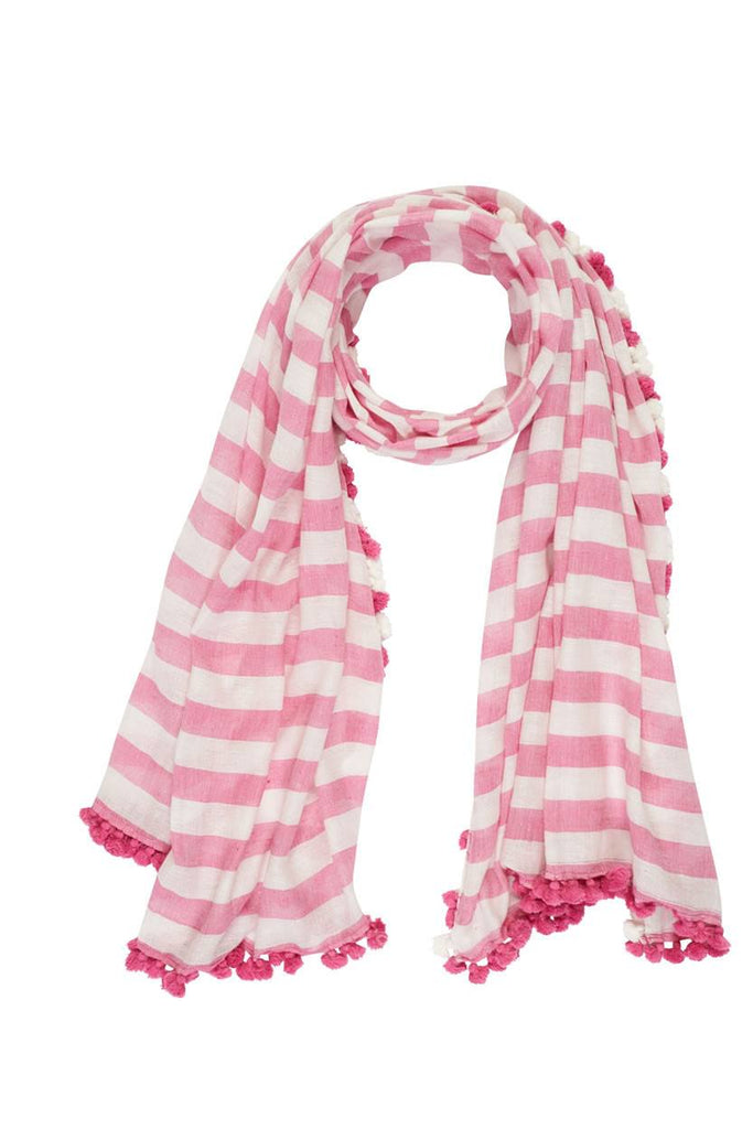 Striped Pom-Pom Scarf - BIBICO