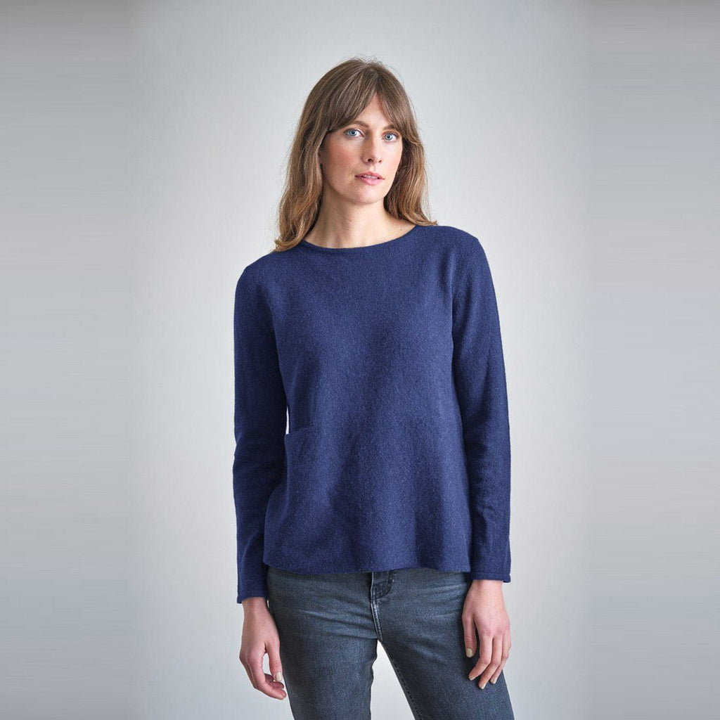 Tessa Navy Wool Boxy Jumper