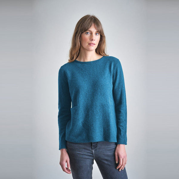 Tessa Fine Knit Wool Jumper Teal Colour Bibico