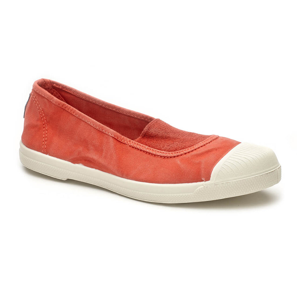 washed red cotton slip on coloured plimsolls