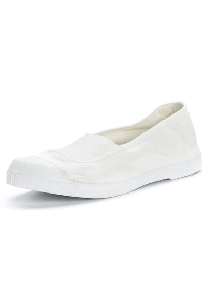 White cotton slip on plimsolls - BIBICO