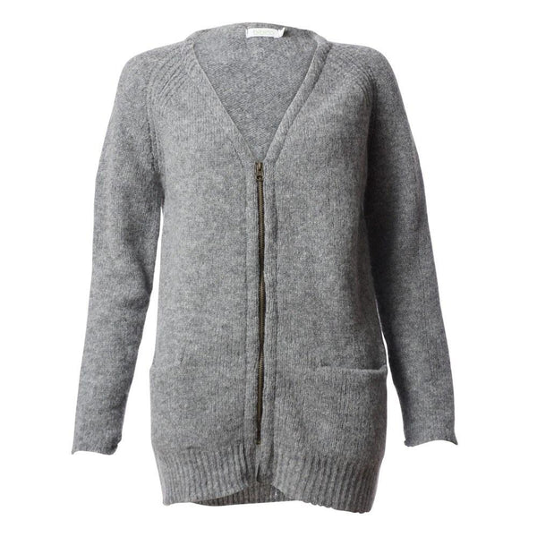 Zip up merino boyfriend cardi - BIBICO