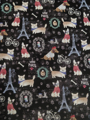 "100% Cotton - French Dogs - ""I Woof Paris"""