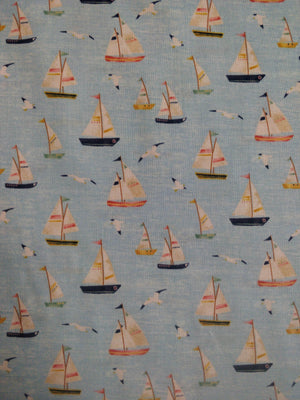 100% Cotton - Sky Blue - Boats