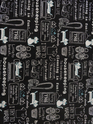100% Cotton - Cat Housekeeping - Black