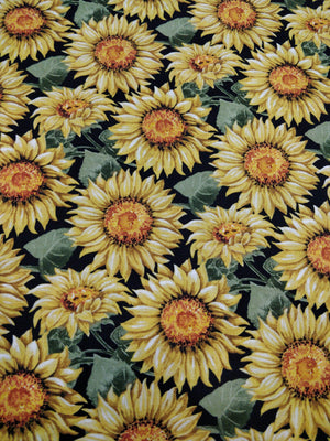 100% Cotton - Sunflowers - Black