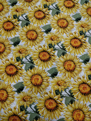 100% Cotton - Sunflowers - White