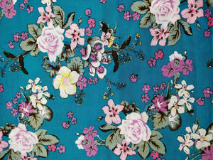 Blue Floral Bunch Patchwork Fabric - 100% Cotton - 150cm Wide