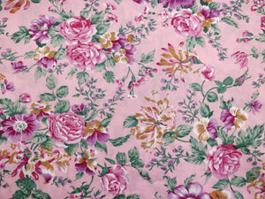 Pink Flowers Patchwork Fabric - 100% Cotton - 150cm Wide