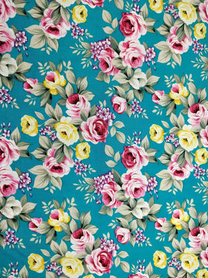 Blue Floral Design Patchwork Fabric - 100% Cotton - 150cm Wide