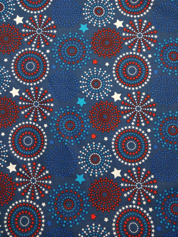 100% Cotton - Stars and Circles - Blue