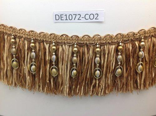 Beaded Trim - 15cm fringe - Brown