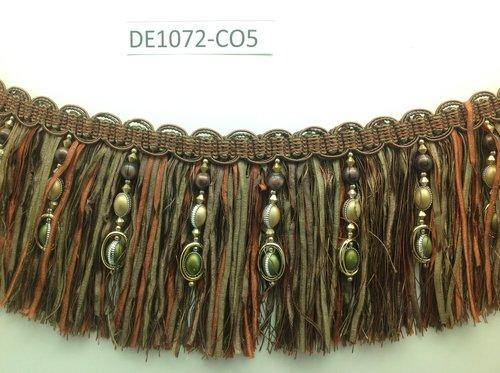 Beaded trim - 15cm fringe - Khaki