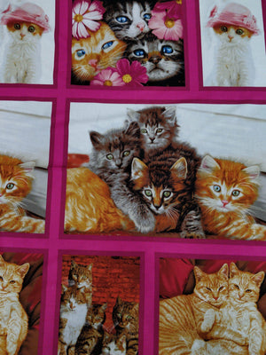 100% Cotton Fabric - Cat Crazy - Patchwork Panel