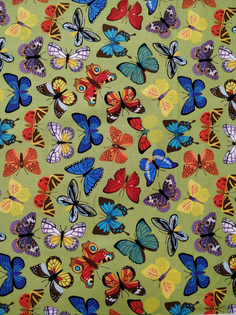 100% Cotton - Butterflies - Green