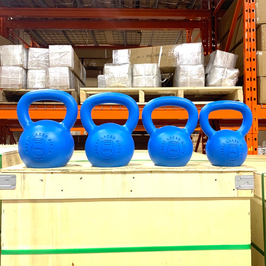 Limited Edition Blue Powder Coated KB set 12,16,20,24 - Great Lakes Strength Manufacturing
