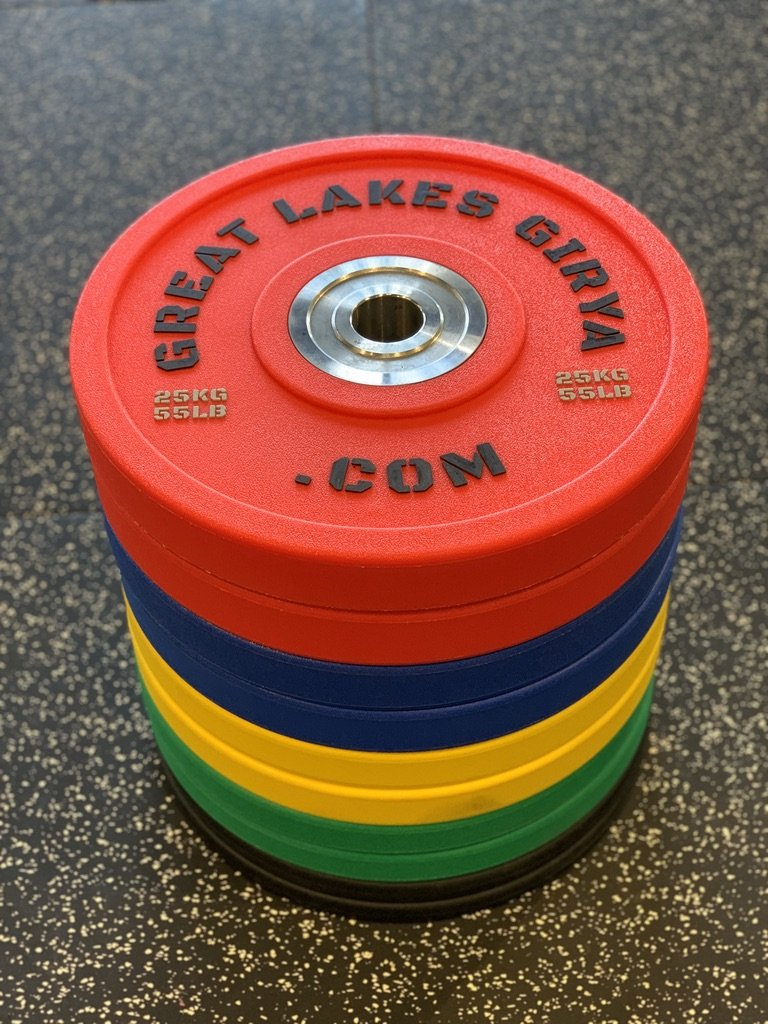 Great Lakes Girya Polyurethane Bumper Plates - 150 KG Set - Great Lakes Strength Manufacturing