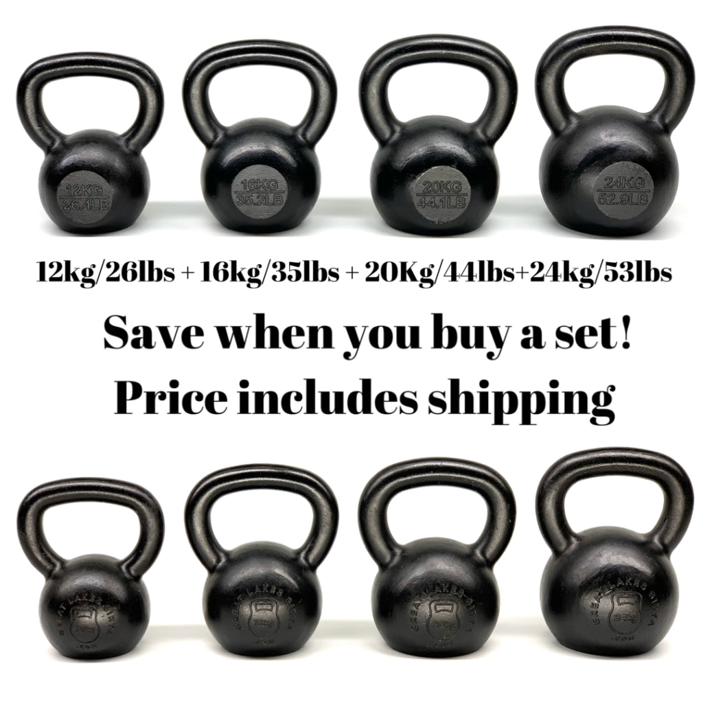 The starter kit= 72kgs of E-Coated Cast Iron Kettlebell set - shipping included - Great Lakes Strength Manufacturing