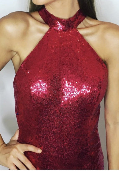 ELEGANT & GLAM Red Sequin Halter