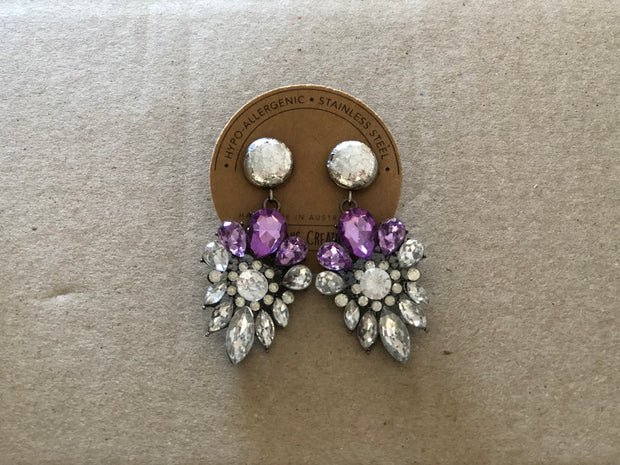 ANASON'S CREATIONS - Purple Crystal Elegant Earrings