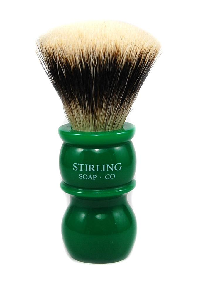 STIRLING SOAP CO FINEST BADGER SHAVE BRUSH 24mm X 50mm, GREEN HANDLE
