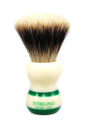 STIRLING SOAP CO FINEST BADGER SHAVE BRUSH, 24mm X 50mm, GREEN STRIPE