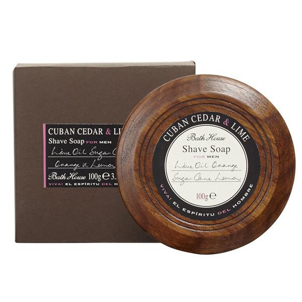 BATH HOUSE CUBAN CEDAR & LIME SHAVE SOAP 3.5 OZ