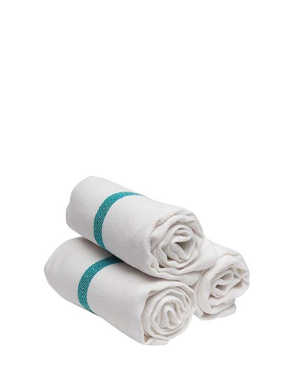 DIANE GREEN STRIPE BARBER TOWELS 12 PC