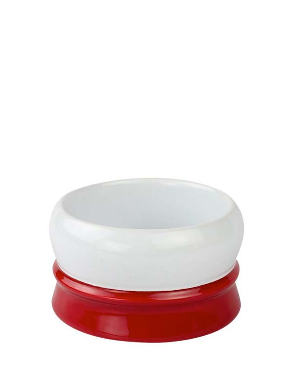 FINE RED AND WHITE SOAP BOWL