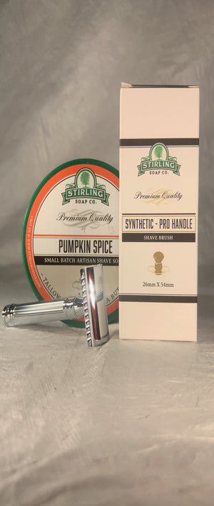 HOLIDAY SPECIAL:  STIRLING SOAP CO SHAVE BRUSH & PUMPKIN SPICE SHAVE SOAP, EDWIN JAGGER RAZOR