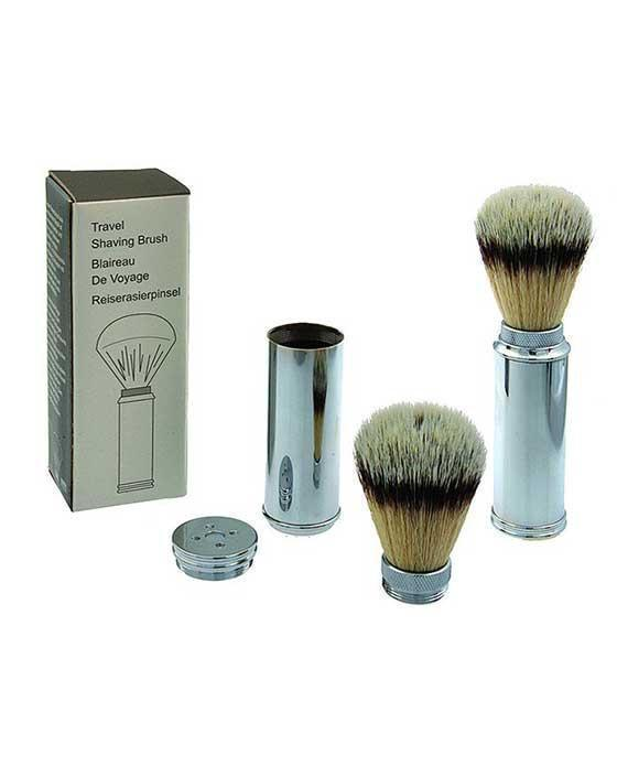 PUREBADGER COLLECTION BRASS TRAVEL SHAVE BRUSH SYNTHETIC FIBER
