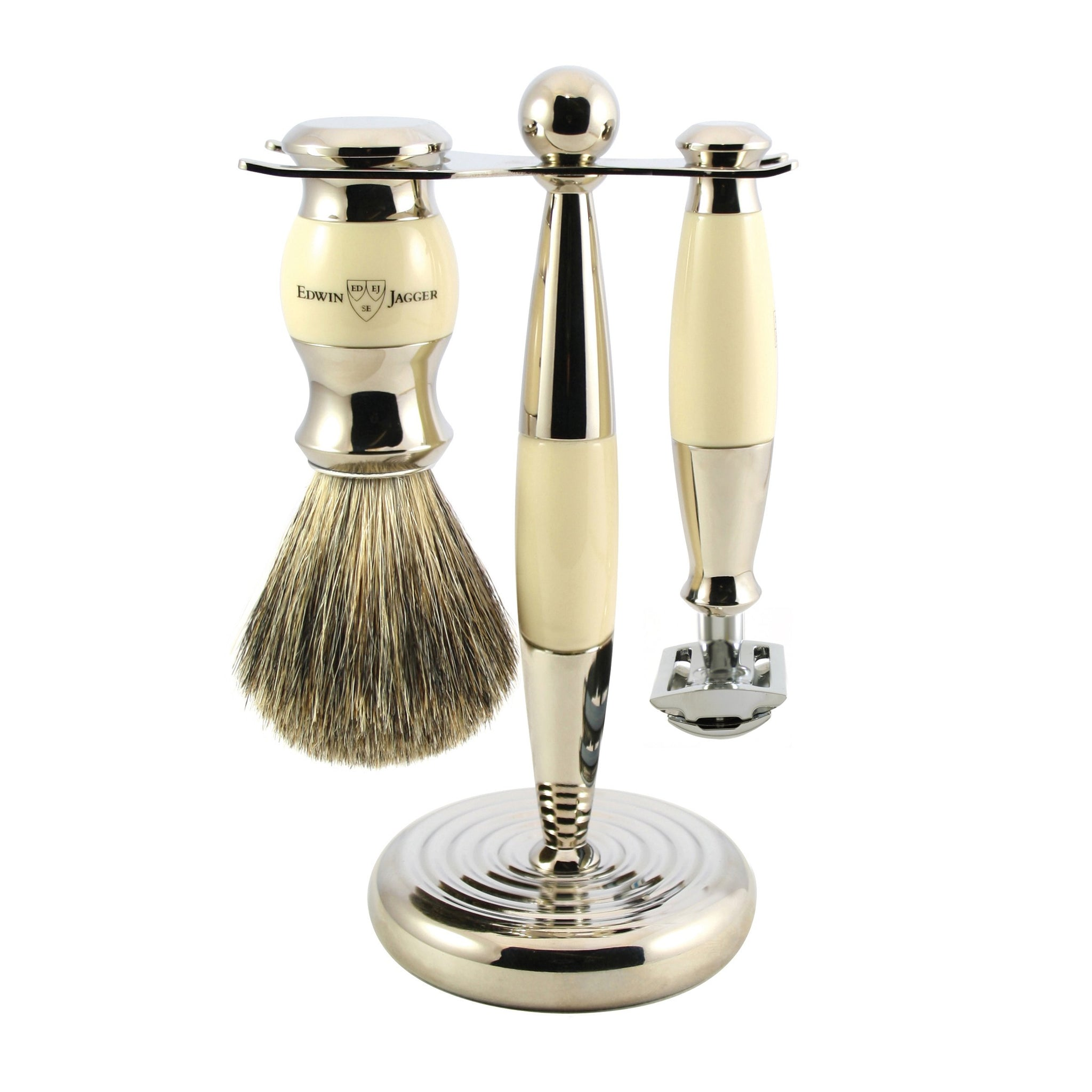 EDWIN JAGGER 3 PIECE IMITATION IVORY SHAVING SET S81M35711SR