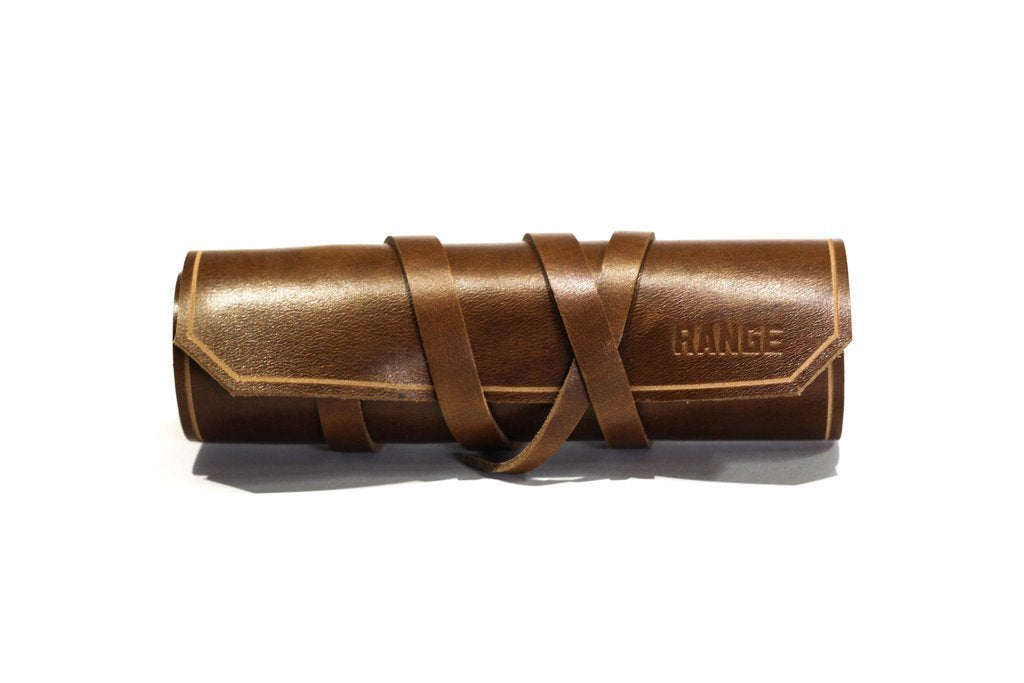 RANGE LEATHER SHAVE BRUSH CASE, BROWN