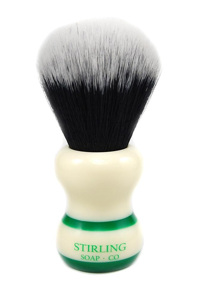 STIRLING SOAP CO SYNTHETIC 2-BAND SHAVE BRUSH, 24mm X 56mm, GREEN STRIPE