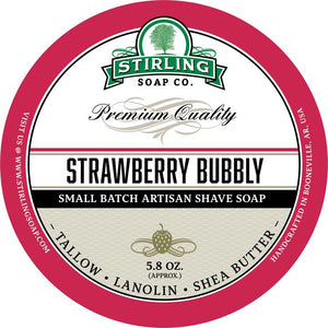 STIRLING SOAP CO STRAWBERRY BUBBLY SHAVE SOAP 5.8 OZ