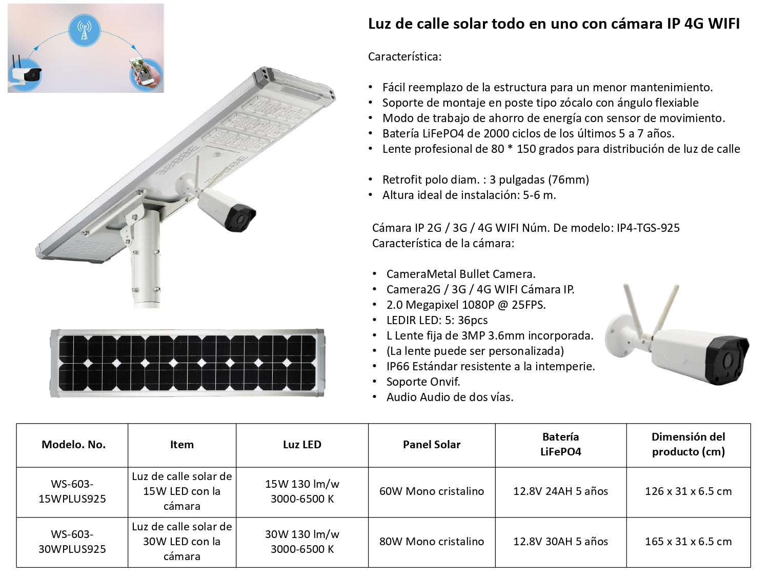 Luminaria LED con Cámara de Seguridad WIFI 4G y Panel Solar