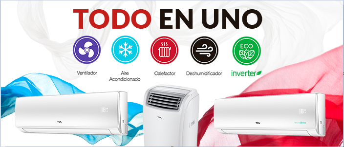 Aire Acondicionado & Calefactor TCL | 18000 BTU | 4en1 | ON-OFF