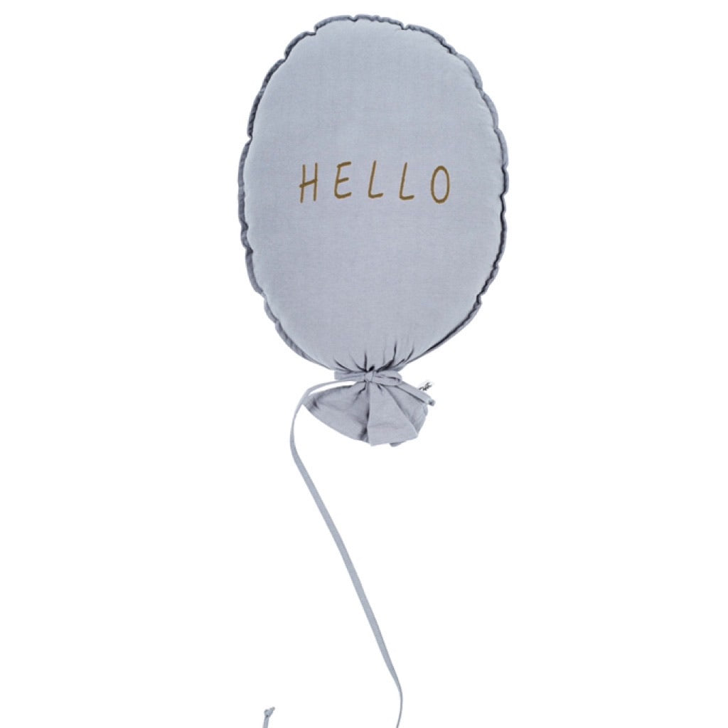 Balloon Pillow - Light Grey 'Hello'