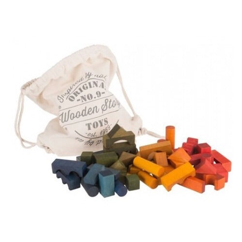 Wooden Rainbow Blocks In Sack - 100 pcs