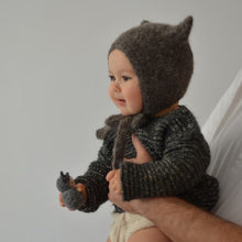 Load image into Gallery viewer, Kitty Bonnet - Dark Grey 0-6 months