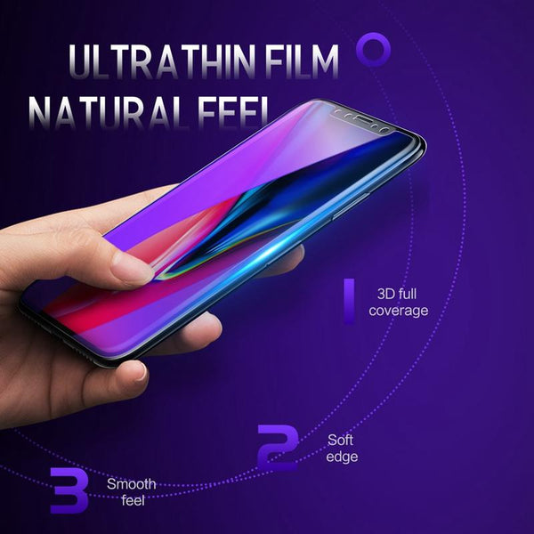 0.23mm 3D Curved Soft Edge High Definition Anti Blue Light Screen Protector for iPhone X - bevsu