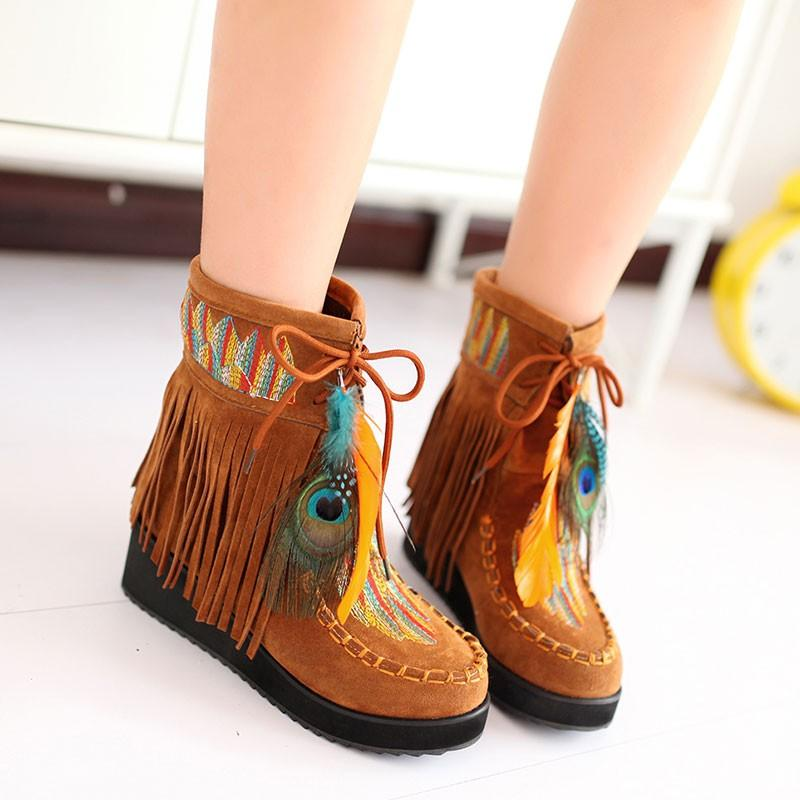 Boot - 2017 New Fashion Indian Style Retro Fringe Boots - Bevsu