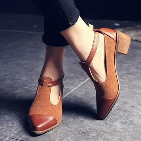 Shoes - Fashion Casual T-Strap Buckle Pumps