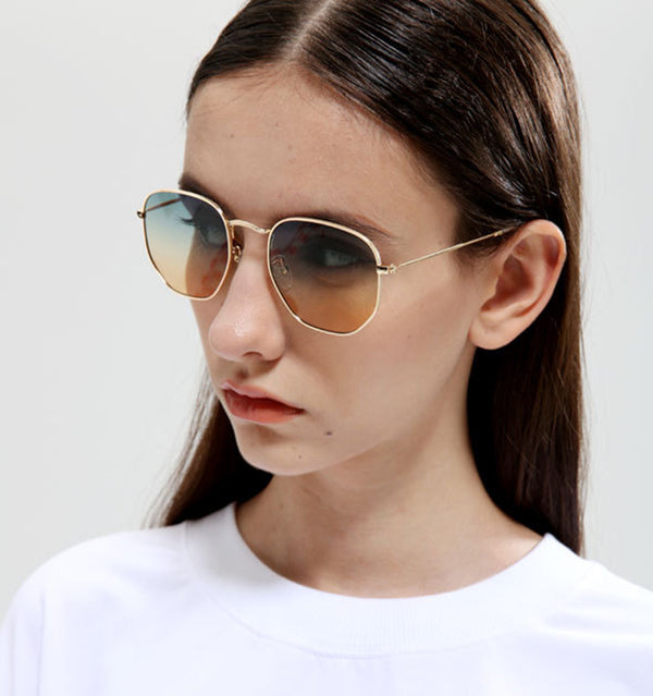 New Fashion Polygon Frame Metal Round 3548 Style Sunglasses Vintage Gradient Brand Design Sun Glasses - Bevsu