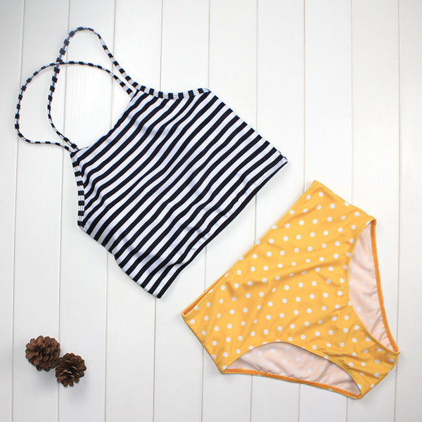 Striped Dot Retro High Waist Bikini
