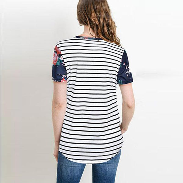 Short Sleeve Printed Stitching Stripe Nursing Maternity Blouse