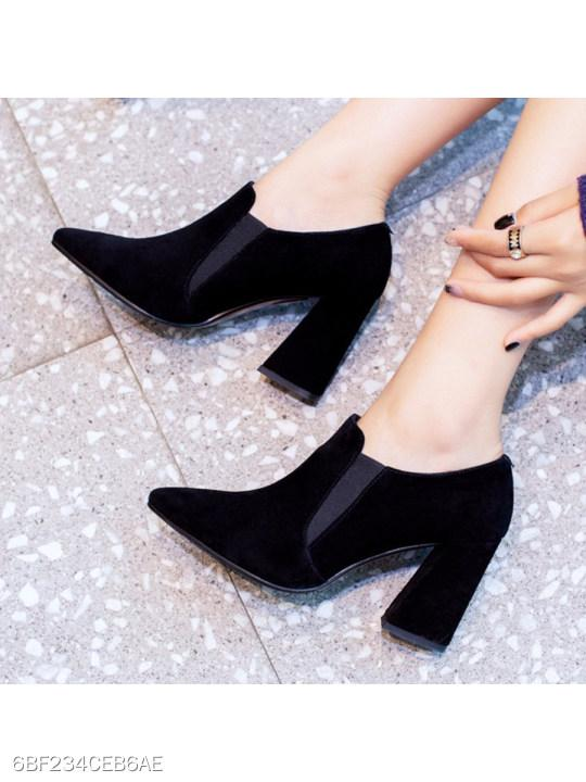 Plain Chunky High Heeled Velvet Point Toe Date Office High Heels Boots