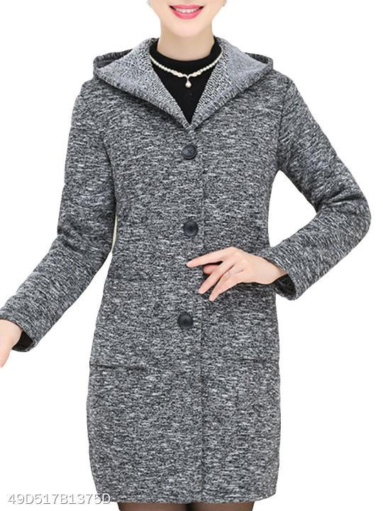 Hooded Single Button Assorted Colors Coat