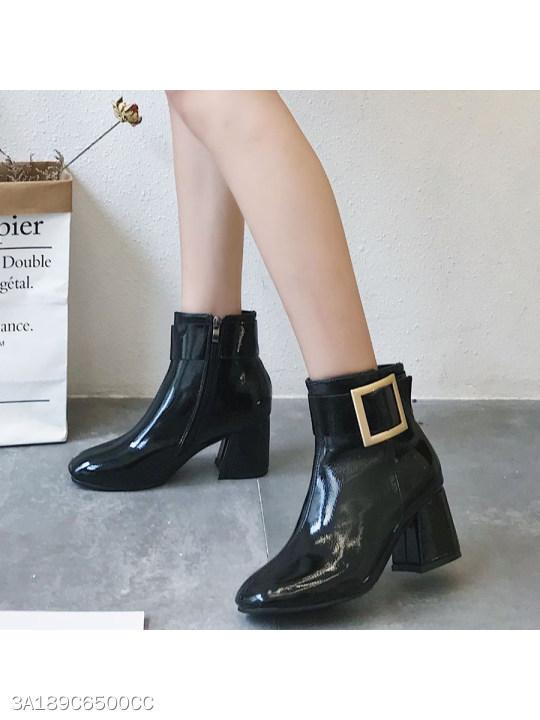 Plain Chunky High Heeled Round Toe Date Outdoor Mid Calf High Heels Boots