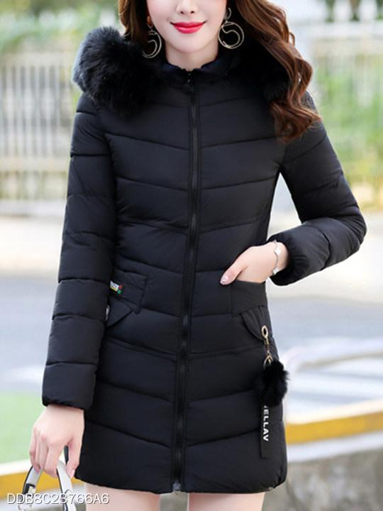 Hooded Plain Quilted Pocket Padded Coat
